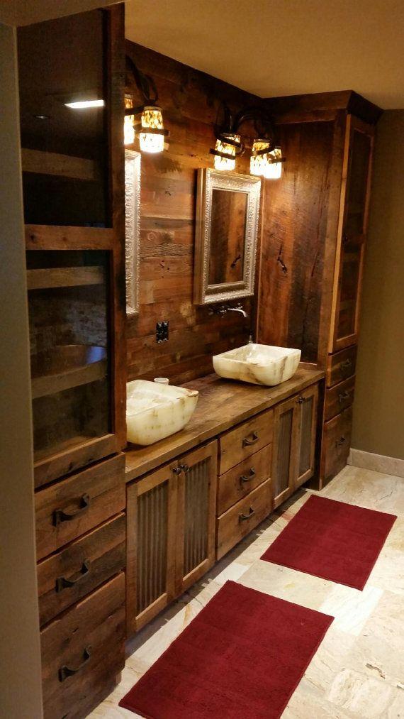 Rustic Barn Wood Double Vanity Cabinet