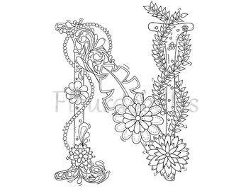 Adult Coloring Page Floral Letters Alphabet K By Fleurdoodles