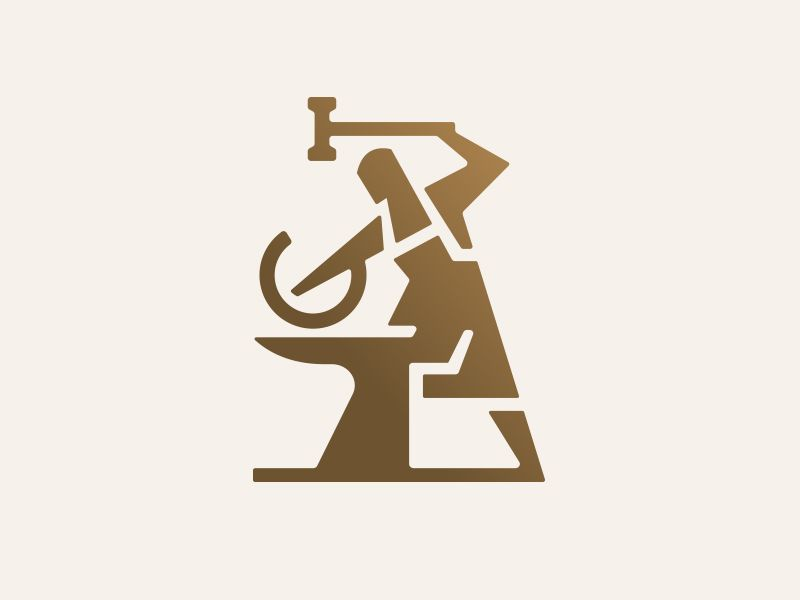 Iron Blacksmith Unique Logo Design Graphic Design Logo Welding Logo