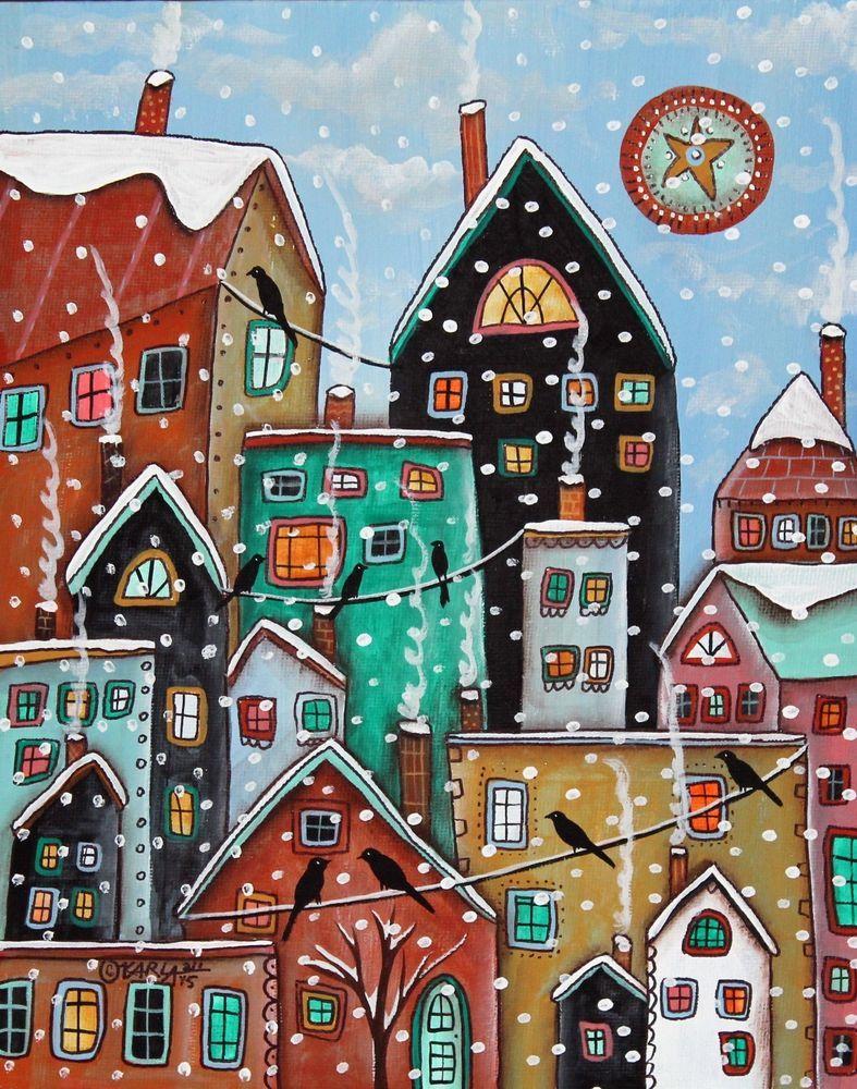 Snowing Again 8x10 inch Canvas Panel PAINTING Original FOLK ART Karla Gerard FOR SALE NOW.... #FolkArtAbstract