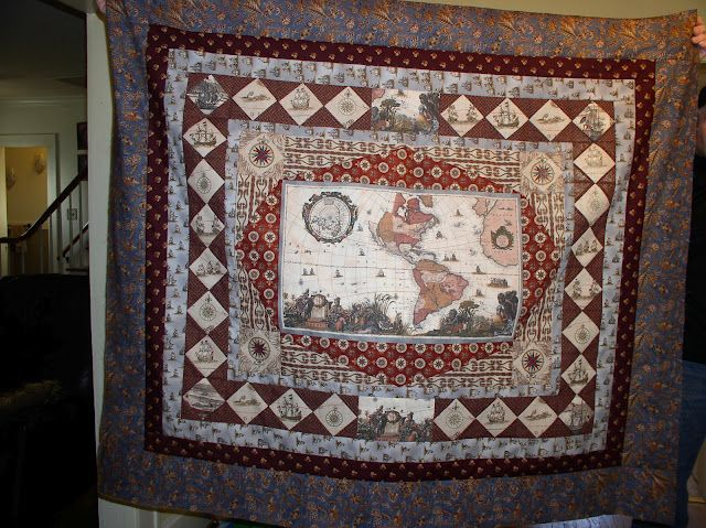 Going to america reproduction quilt with old world map quilts going to america reproduction quilt with old world map gumiabroncs Gallery