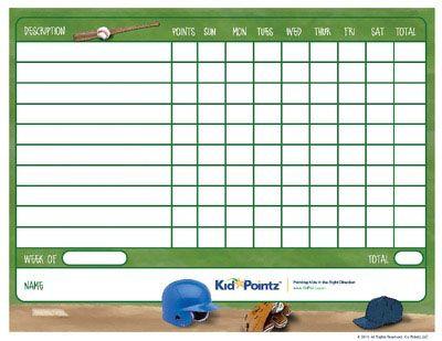 Kids Printable Behavior Chart  Sports Theme Kid Pointz  Macy