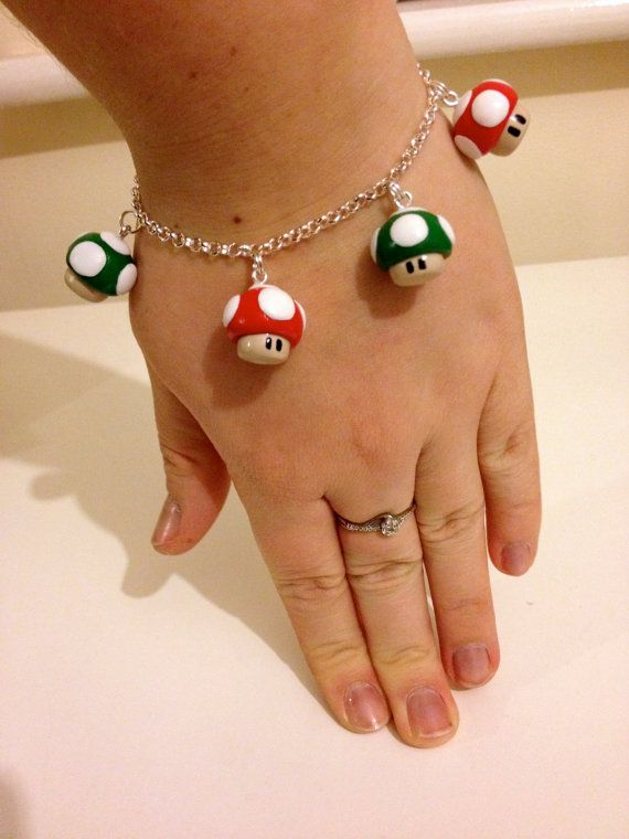Mario Mushroom polymer clay Charm bracelet in red and green