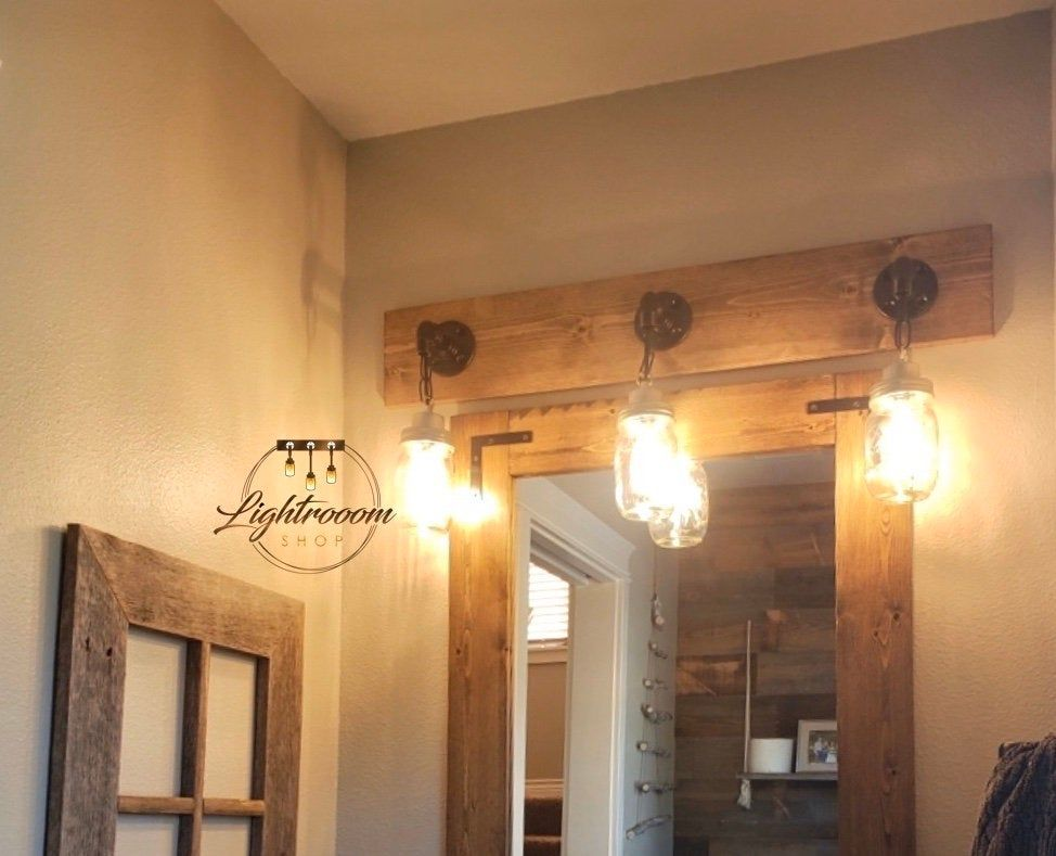 Photo of SPECIAL WALNUT Light Fixture, Country-Style Mason Jar Light, Pendant Wall Light, Bathroom Fixture, Rustic, Industrial, Handmade, Modern