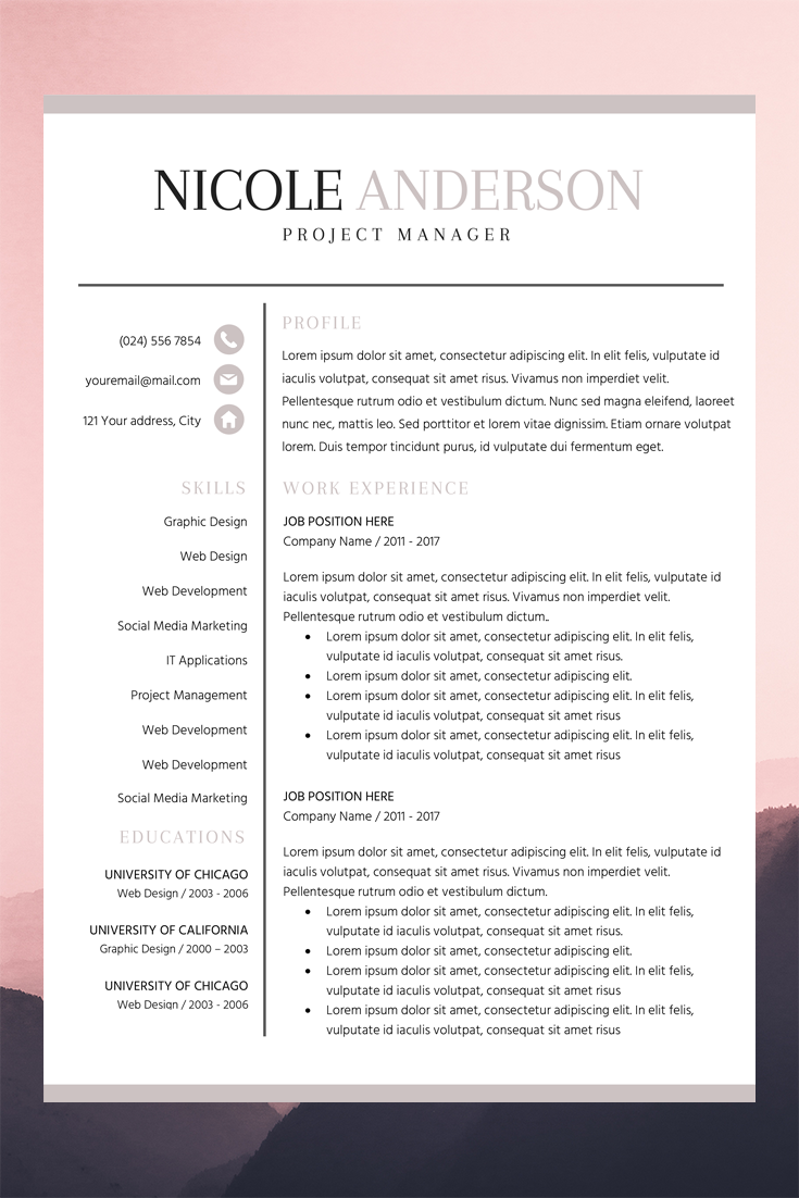 Bold Resume Template Basic Cv Layout Nicole Anderson Resume Template Cv Cover Letter Resume Template Word