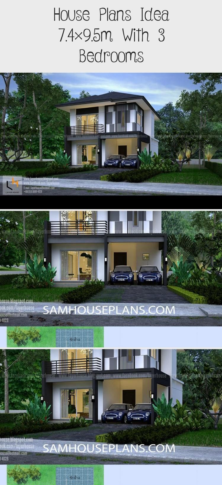 House Plans Idea 7 4 9 5m With 3 Bedrooms In 2020 House Plans Small House Plans