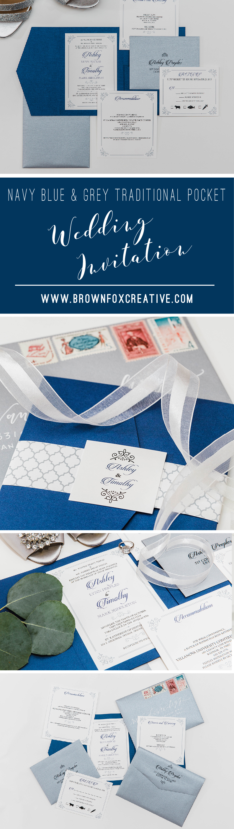 5x7 navy and silver formal classic pocket wedding invitation with navy and silver formal classic pocket wedding invitation with details rsvp inserts and return address printing on envelopes stopboris Gallery