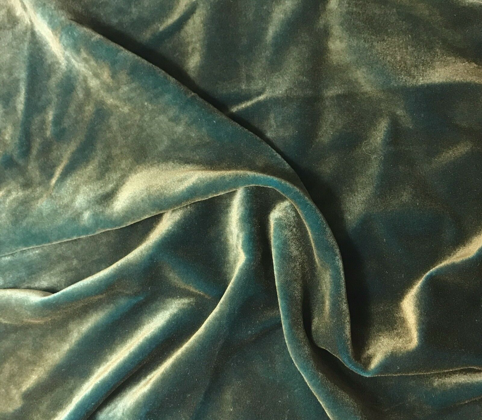 Hand Dyed AQUA BLUE Silk VELVET Fabric
