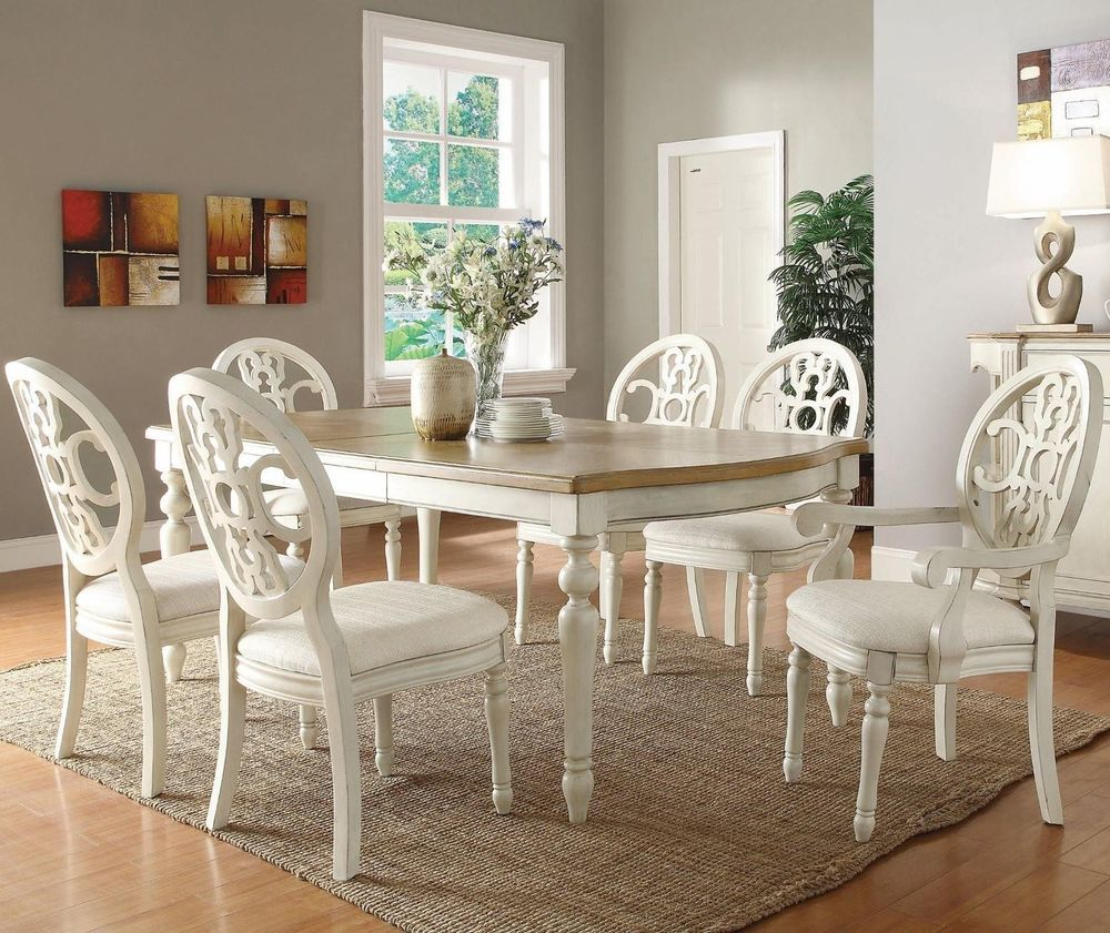 Rebecca CountryAntique White Oak 7 Piece Dining Table Upholstered Chairs Set