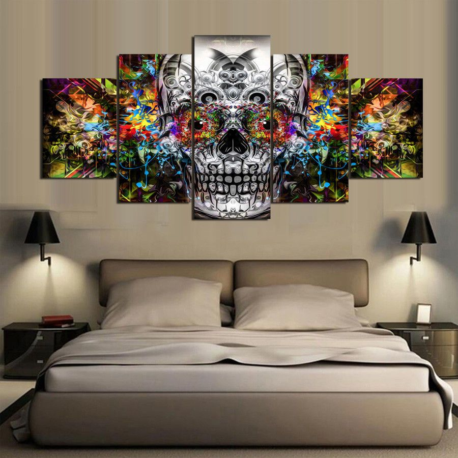 ABSTRACT SKULL FLOWERS MODERN CANVAS WALL ART PRINT PICTURE READY TO HANG