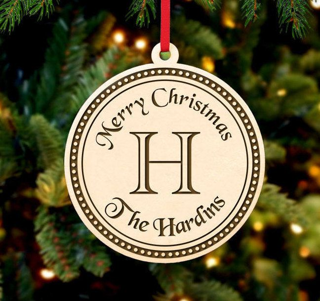 Personalized Christmas Ornament ~ Circle Initial- Christmas Gift
