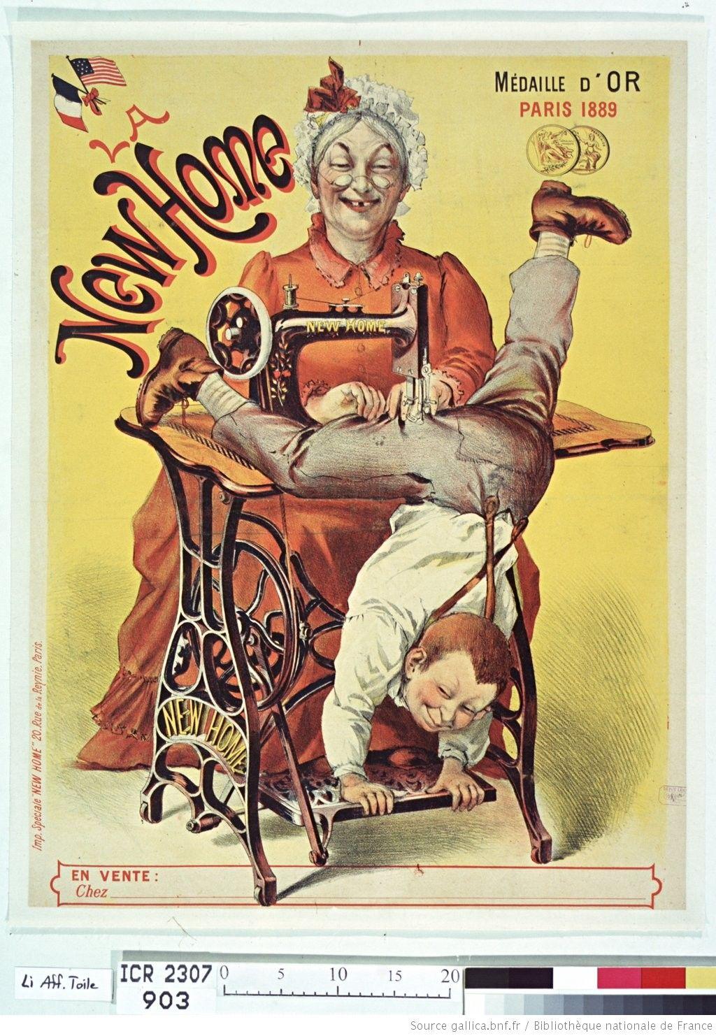 la new home machine coudre m daille d 39 or paris 1889 affiche non identifi atc. Black Bedroom Furniture Sets. Home Design Ideas