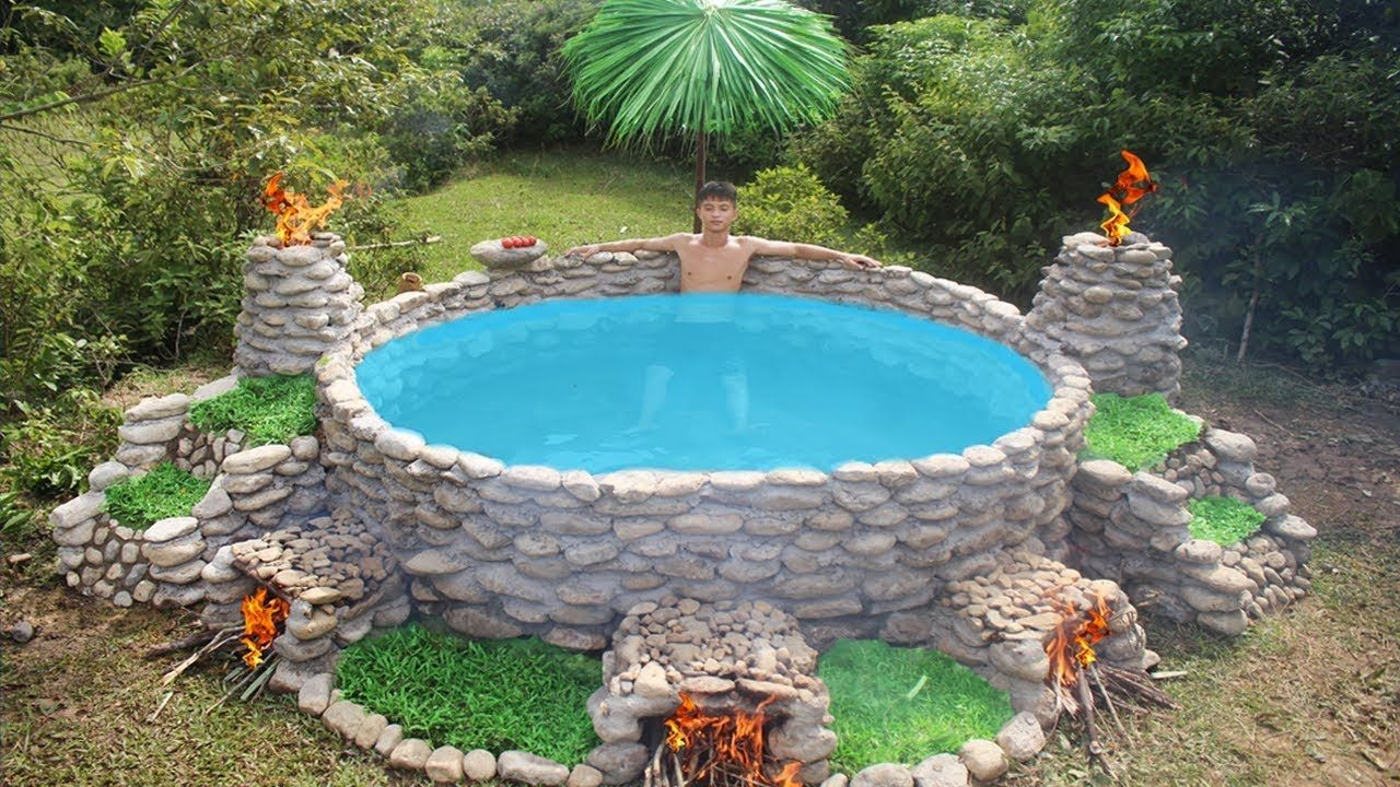 Build Big Heated Swimming Pool For The Winter Diy Swimming Pool Homemade Swimming Pools Outdoor Tub