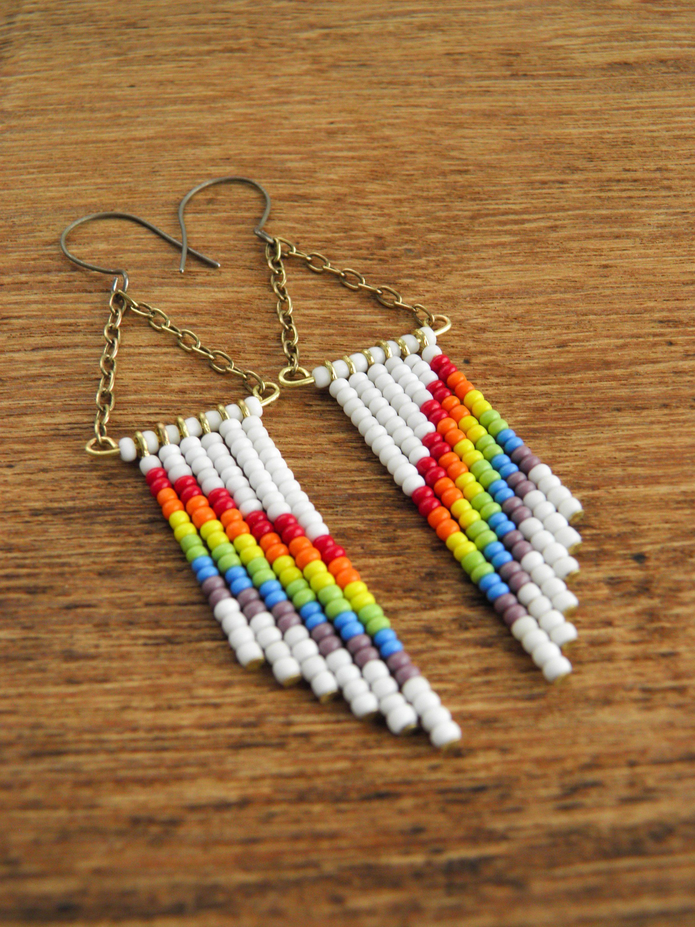 1790ec8c1f5f29 Rainbow earrings,Seed bead chevron earrings,Boho fringe earrings,Summer  Boho earrings,Seed bead drop earrings,Lgbtq earrings,Gift for her
