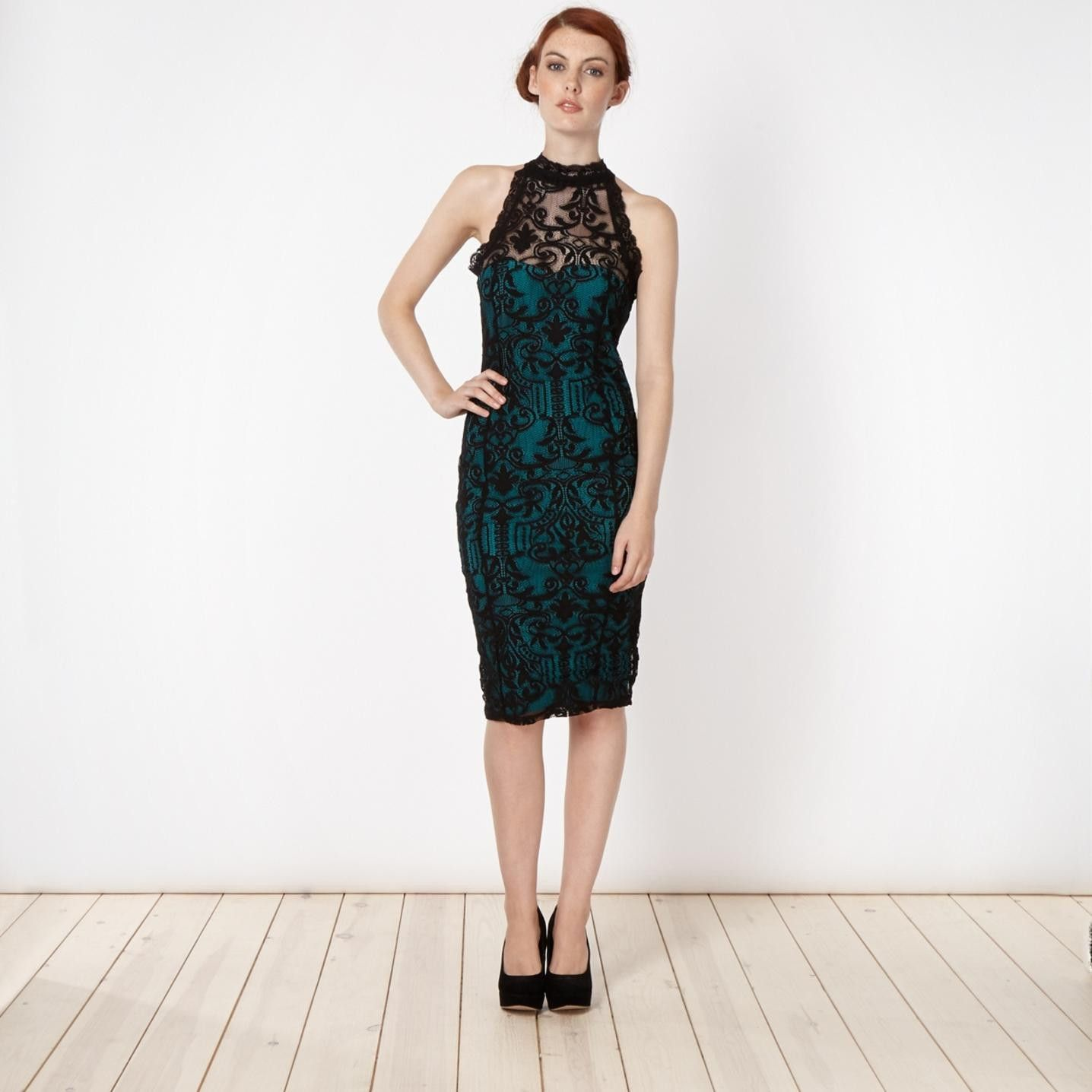 Lipsy petite floral lace high neck bodycon dress