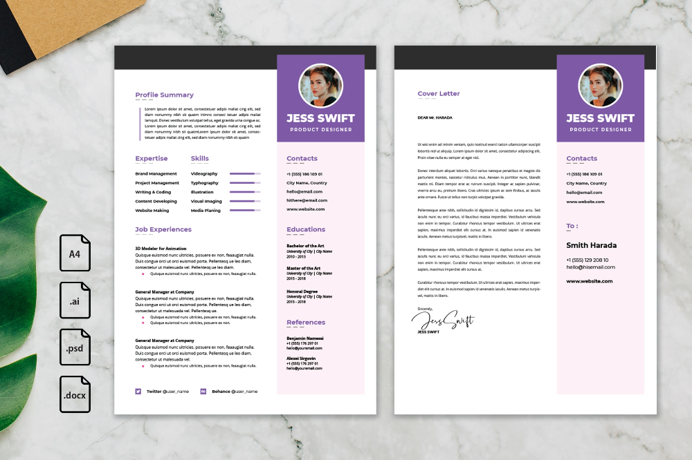 Cv Resume Product Designer Profile Is An Awesome Resume And Cv Template For You Who Looking For Job Applications This Template Is Very Easy To Edit This Te Di 2020