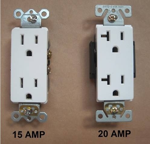 What a 15amp outlet looks like versus a 20amp outlet | House ...
