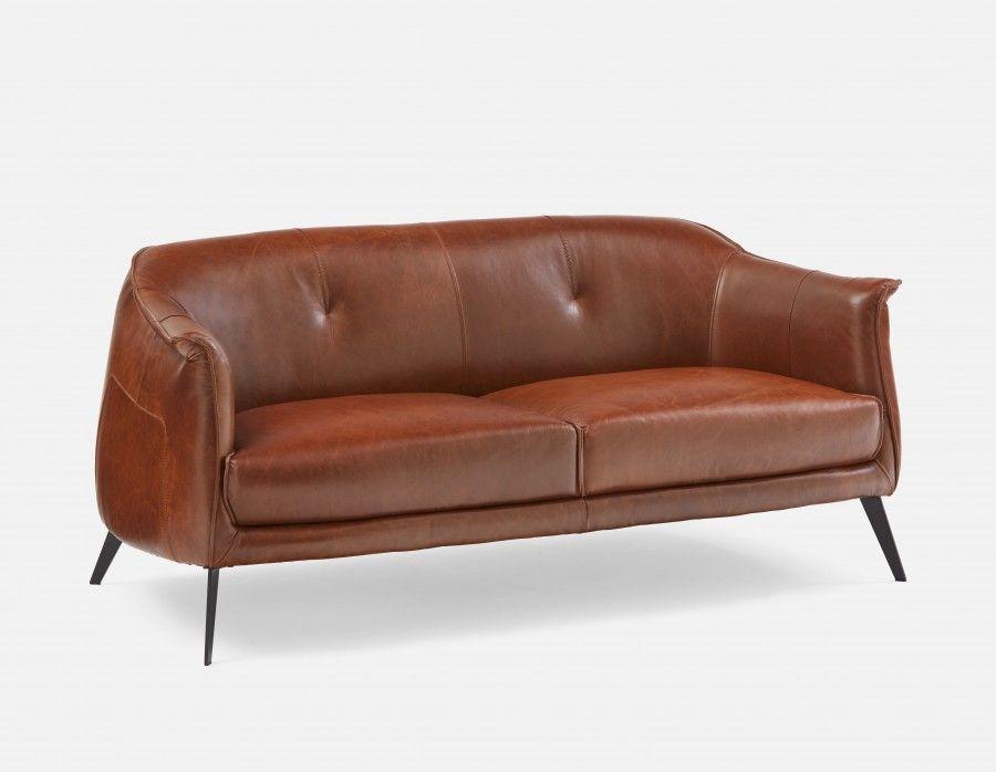 Ambrose Brown Leather Studio Sofa