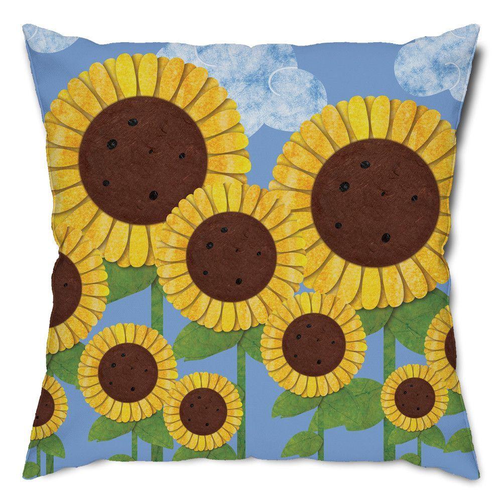 Summer Sunflowers Floral Throw Pillow
