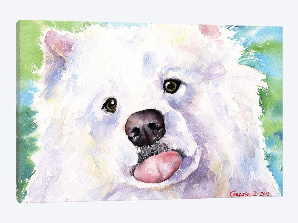 Samoyed Puppy Dog Original Art Print 8x10 Matted to 11x14