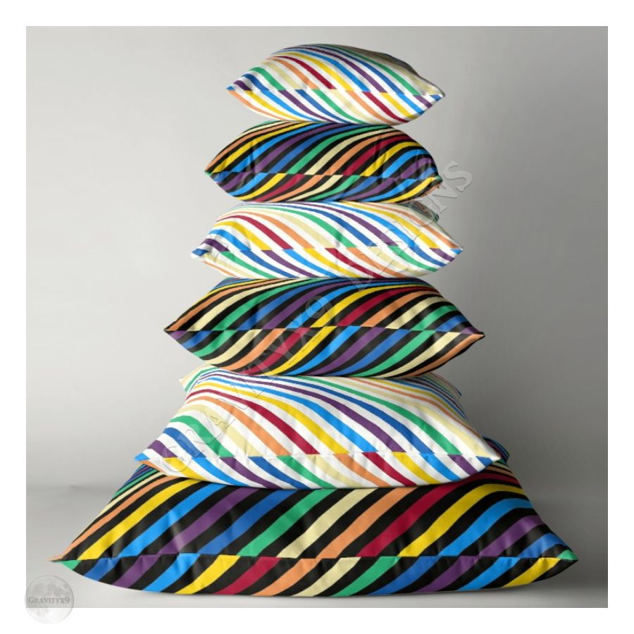 * Home Decor Pillows for Indoors and Outdoors * Colorful Rainbow Stripes Throw Pillows