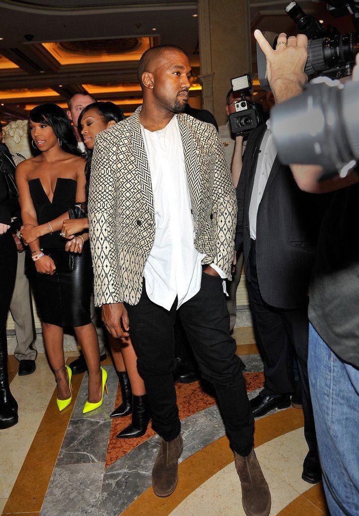 Kanye West Wears Haider Ackermann Print Jacket To Kim Kardashian Birthday Celebration Summer Club Outfits Kanye West And Kim Vegas Birthday