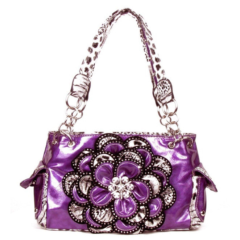 Handbags, Bling & More! Crystal Leaf Purple Leopard Rhinestone Flower Handbag : Flower Purses