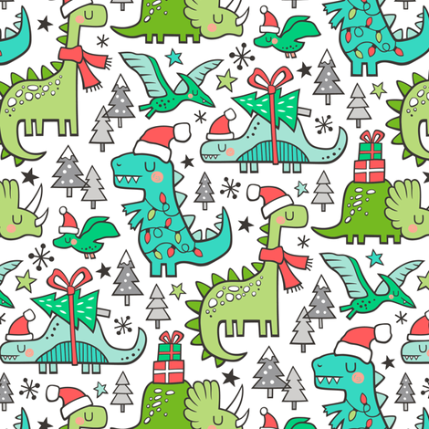Colorful Fabrics Digitally Printed By Spoonflower Christmas Holidays Dinosaurs Trees Smaller 75 Scale In 2021 Cute Christmas Wallpaper Cute Christmas Backgrounds Christmas Phone Wallpaper