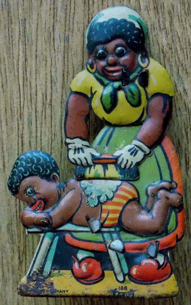 Black Mamma Washing Child German Litho Tin Snapper Noisemaler Toy Ca. 1900. RARE