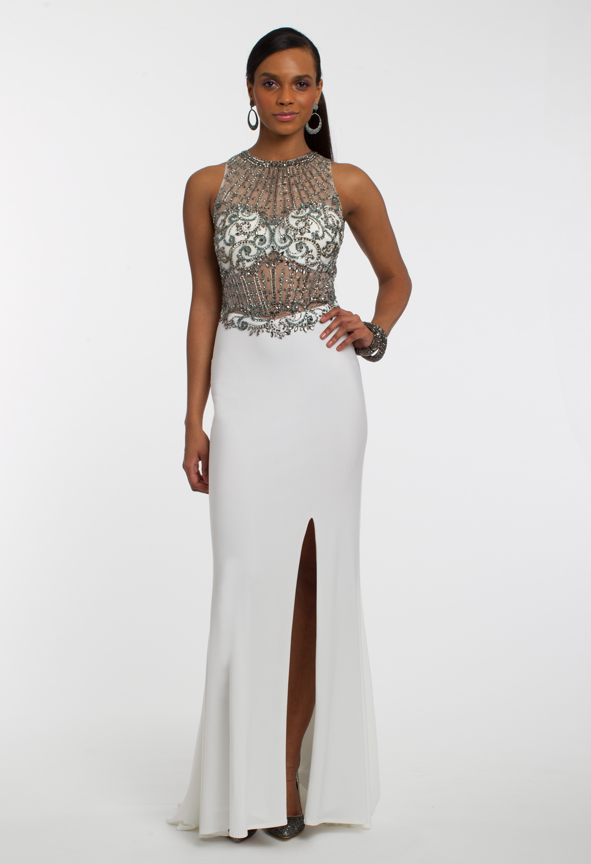 Two tone beaded jersey dress slit skirt fitted bodice and