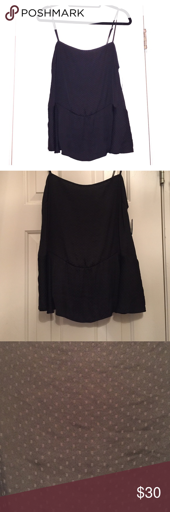 New Free People Peplum Camisole Black, new with tags! Little gray square accents in the material print as seen in one of the pictures. 100% polyester. Peplum detail at the waist. Free People Tops Camisoles