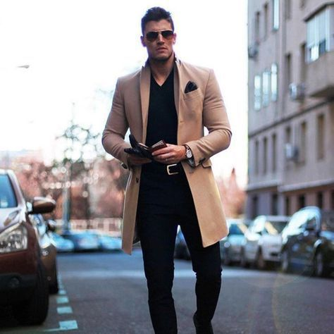 Fashion Lapel Collar Plain Button Packets Long Coat #manoutfit