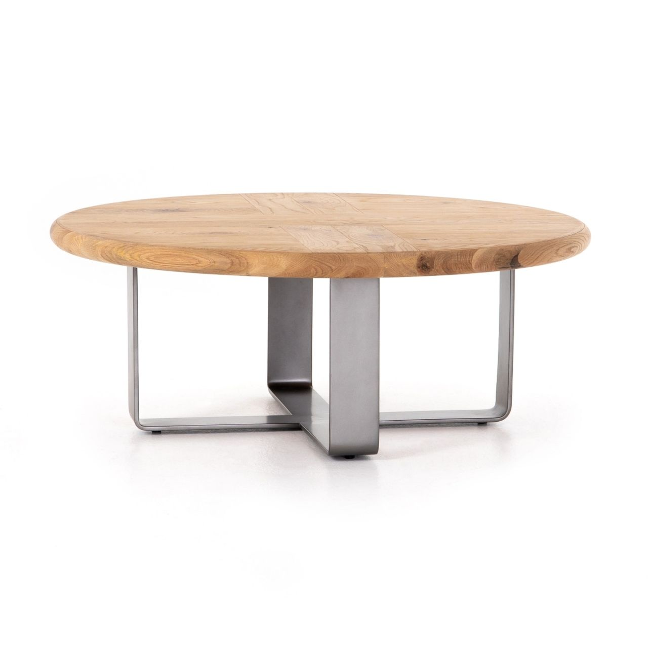 Skate Oak Wood Metal Round Coffee Table 42 Round Metal Coffee
