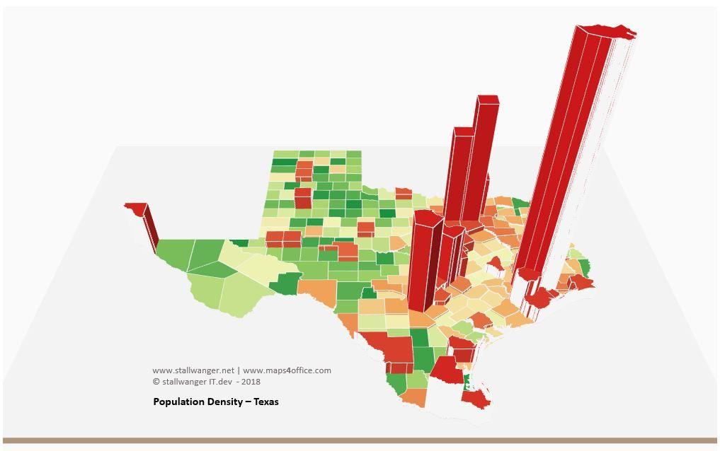 3d Map Of Texas.Us Texas Map County Population Density Worldmap Population Density