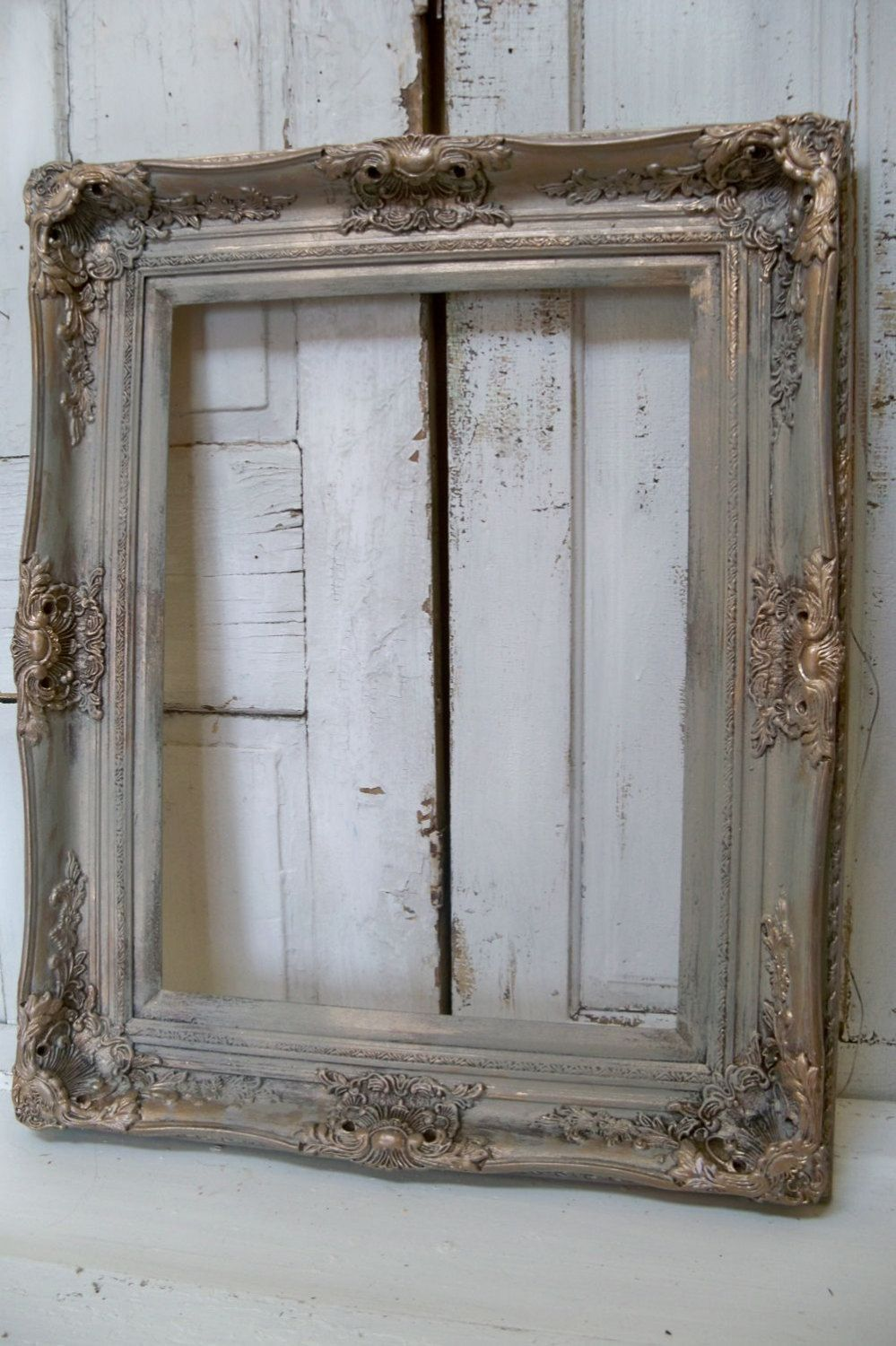 Large frame French farmhouse ornate hand painted a barn gray antique ...