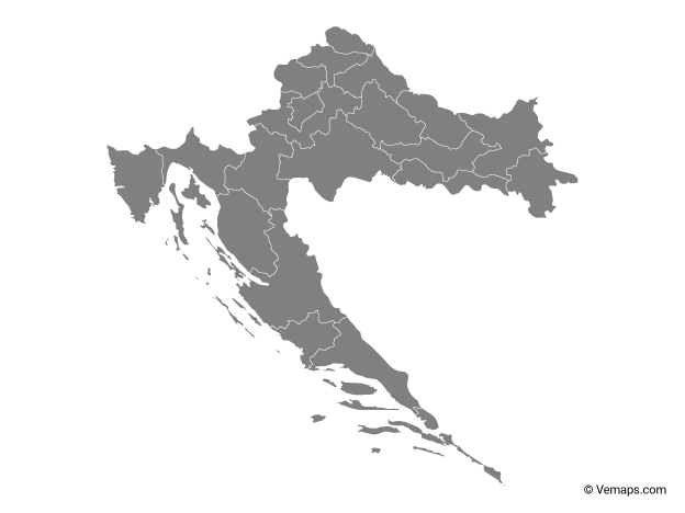 Grey Map Of Croatia With Counties Free Vector Maps Croatia Map Map Vector Croatia