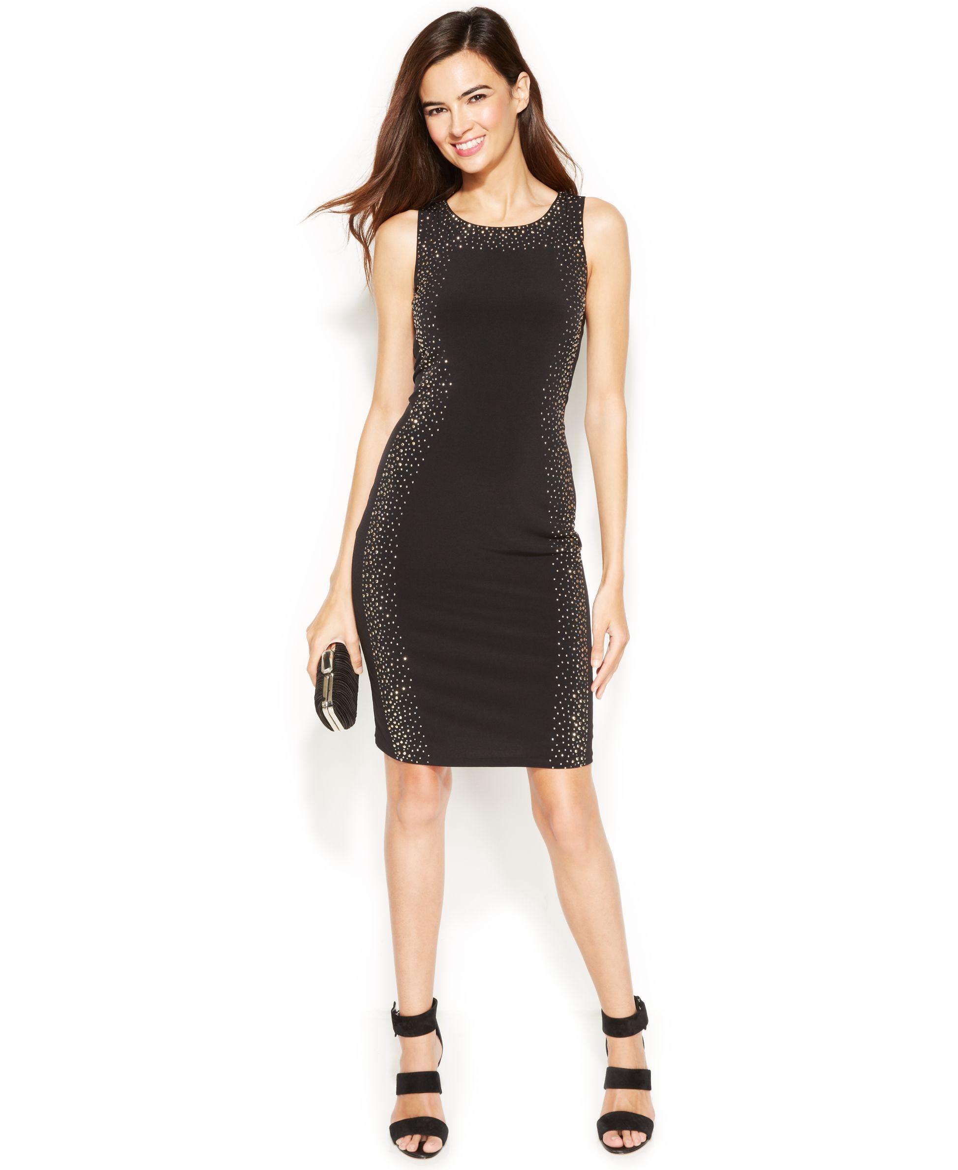 feb3c290 Calvin Klein Sleeveless Studded Body-Con Dress   Products   Dresses ...