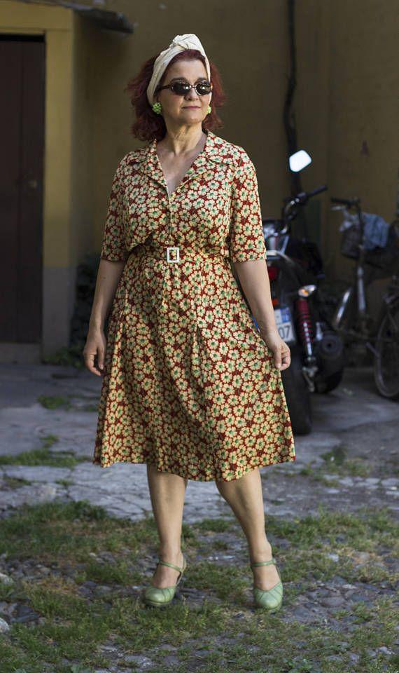 70/'s Floral Shirtdress
