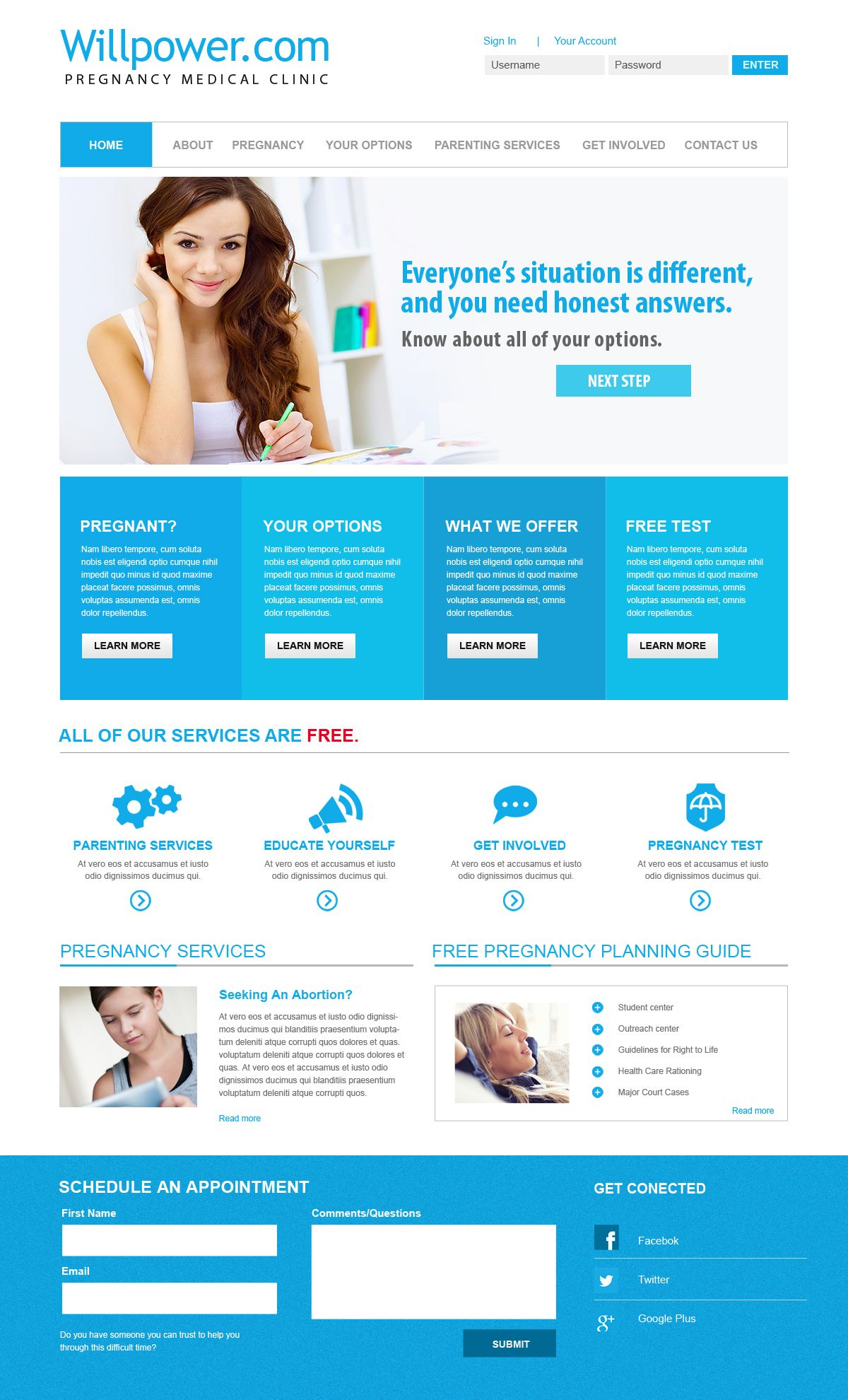 Health and wellness websites. Doctors and medical websites