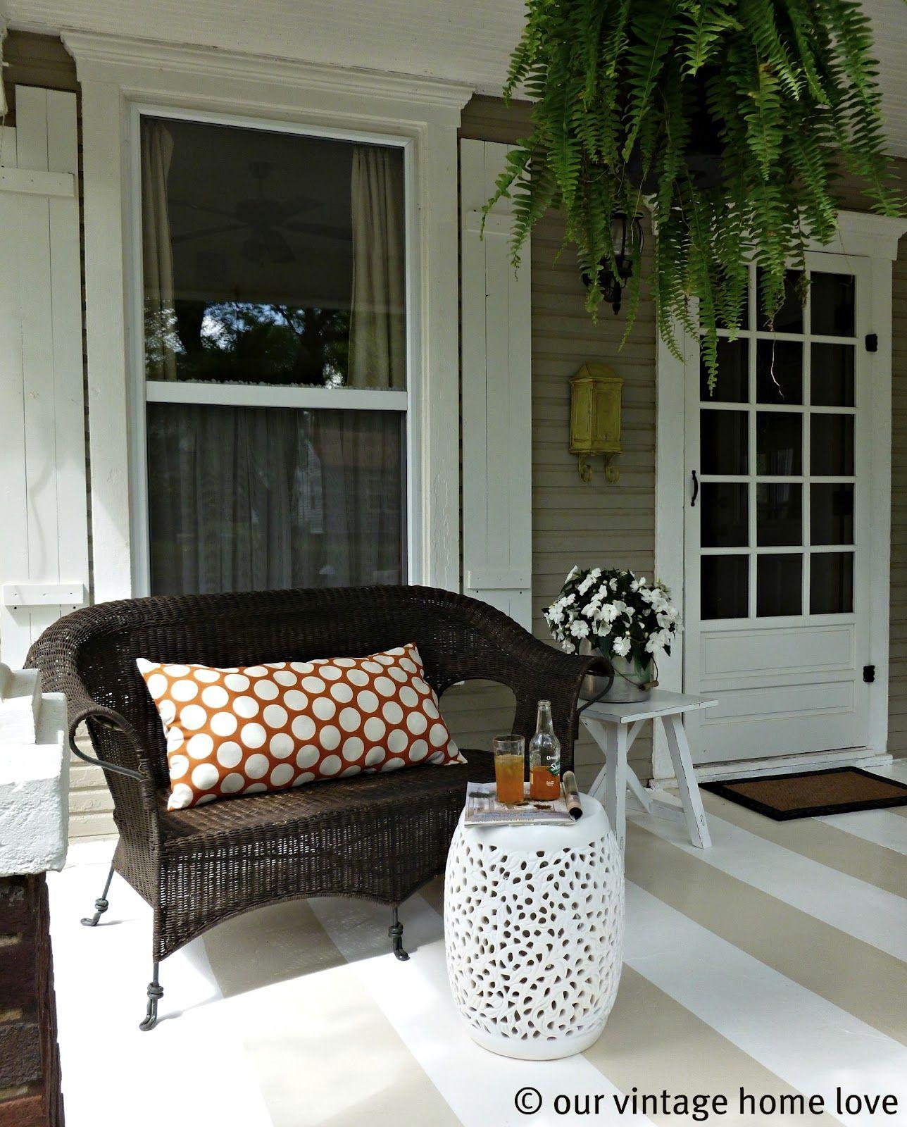 Creative Screened Porch Design Ideas: Painted Concrete Porch Ideas Ourvintage