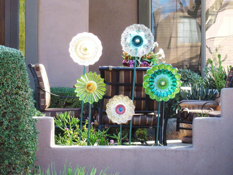 Yard And Garden Art, Outdoor Decoration, Glass Garden Flower ...