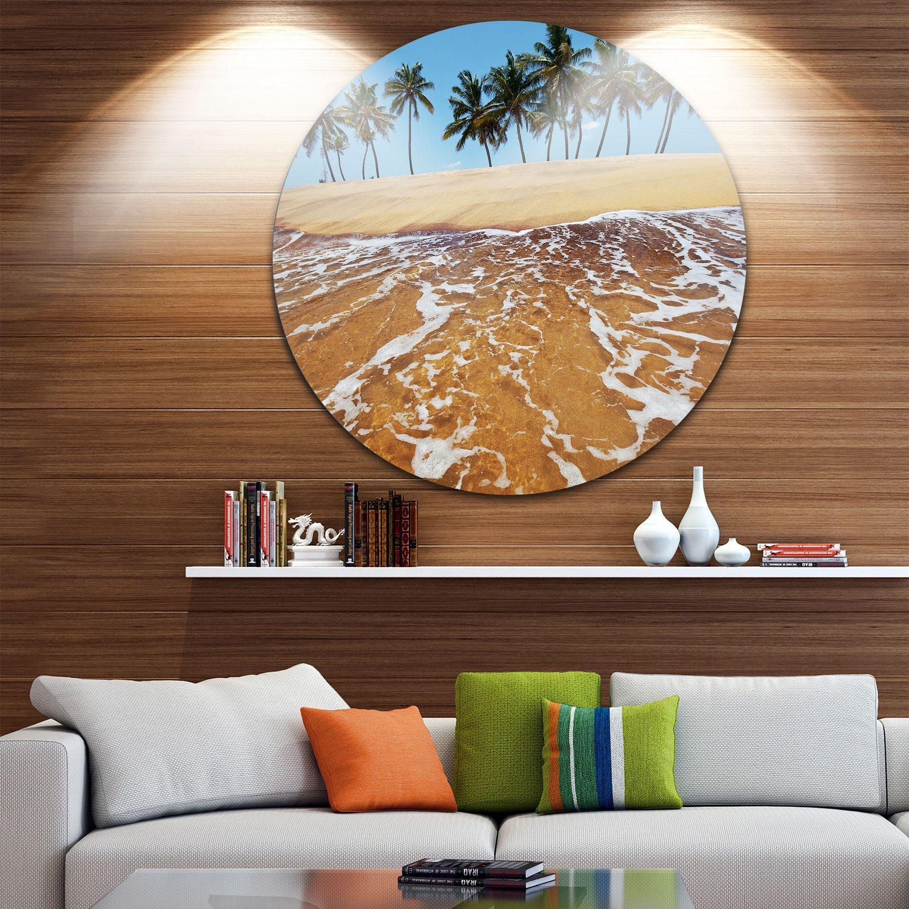 Designart 'Tropical Beach with Crystal Waters' Seashore Disc Metal Wall Art