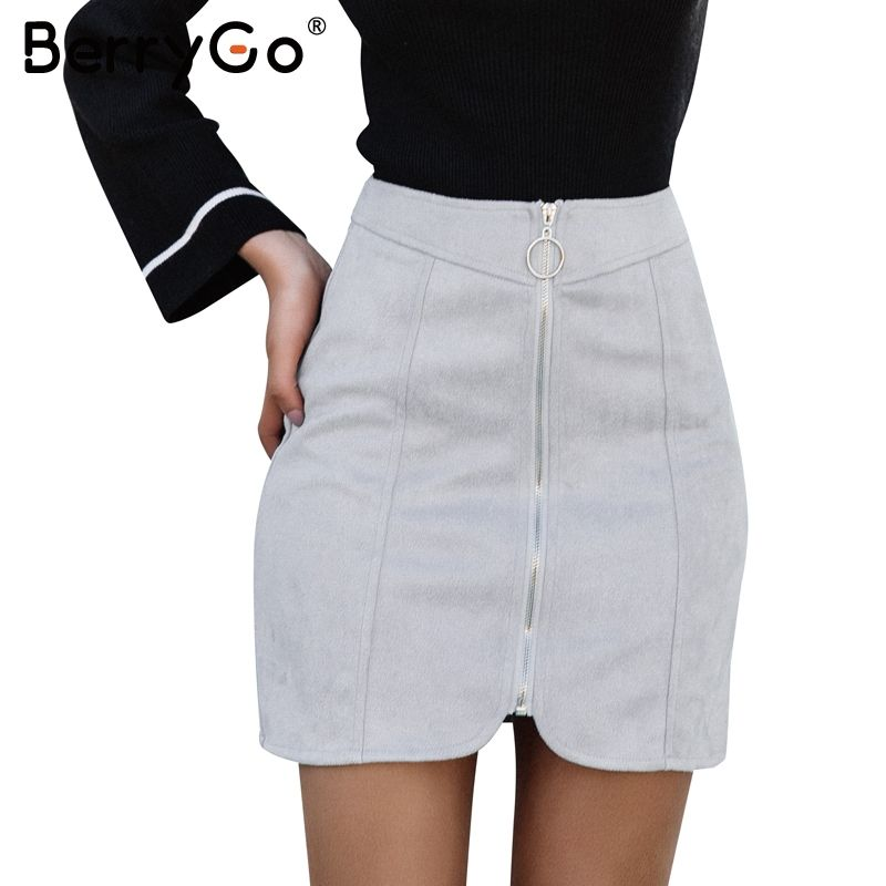 27.52 - Cool BerryGo Sexy leather suede mini skirt women Autumn winter  zipper ring high waist aedb785ed81a