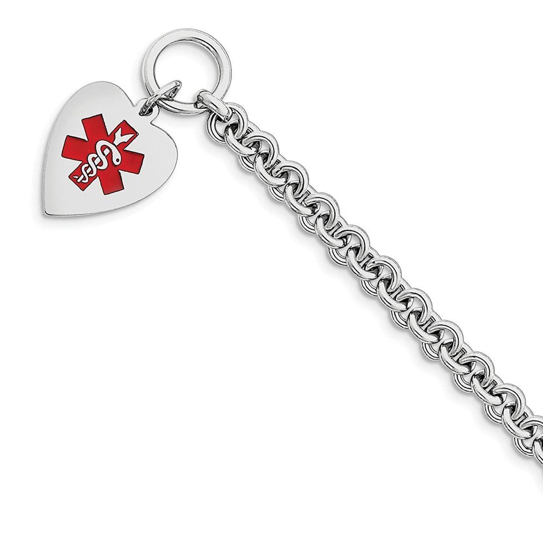925 Sterling Silver 16mm Rhodium Engraveable Enamel Disc Medical ID Chain Necklace Bracelet or Anklet