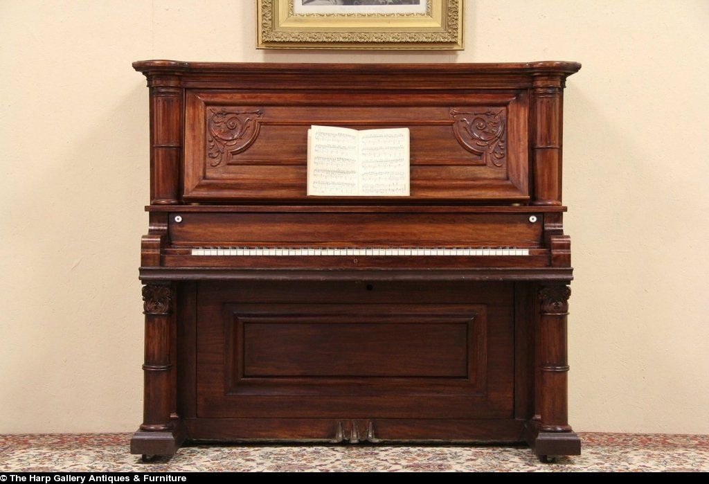 Antiques Well Loved And Used. Precise Upright Victorian Piano With Fluting And Inlaid Decoration