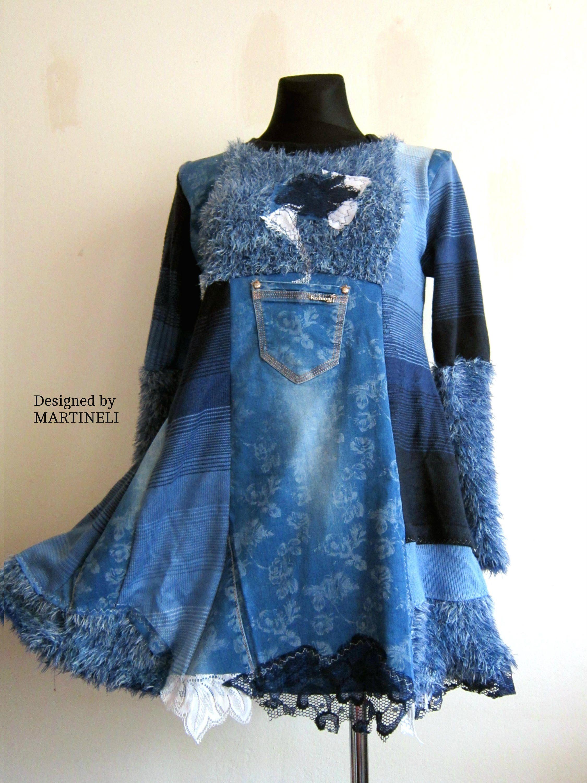 Ml blue tunic dress extravagant dress upcycled clothing bohemian