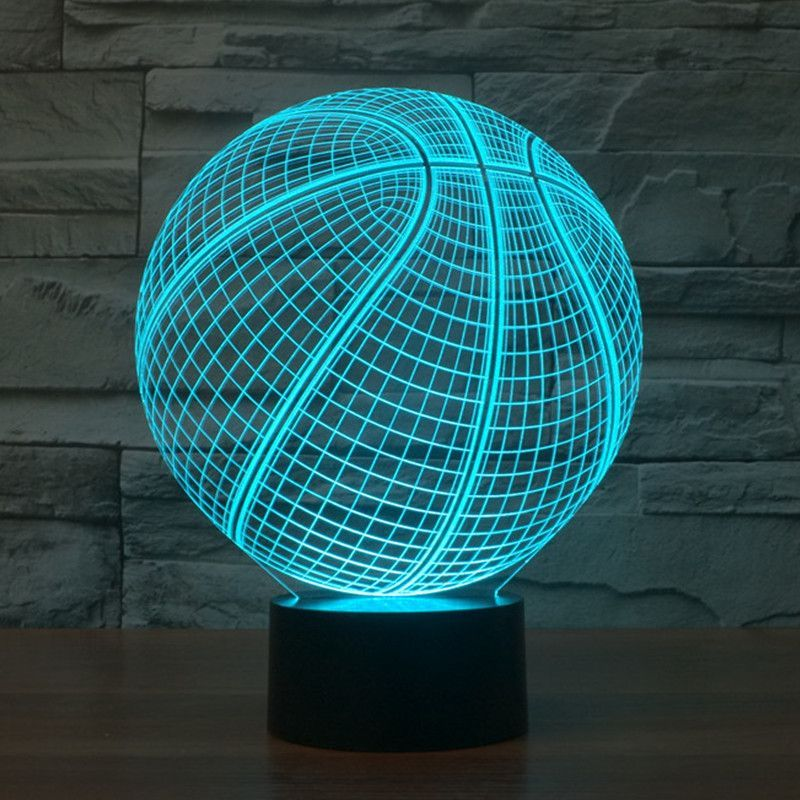 Realistic Basketball 3d Optical Illusion Lamp In 2020 Night Light Basketball Bedroom Led Night Light