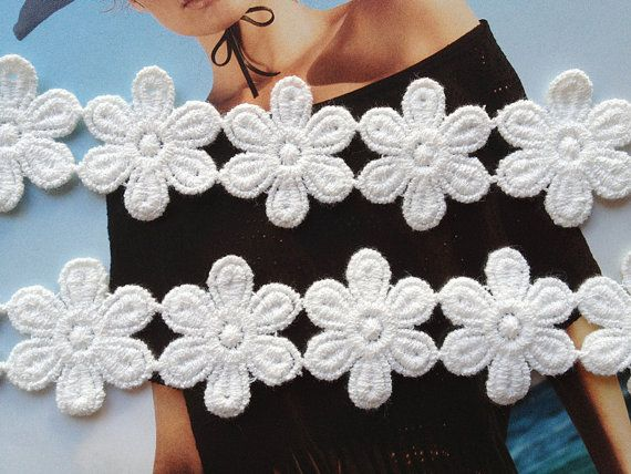 Daisy flowers crochet applique crochet colorful