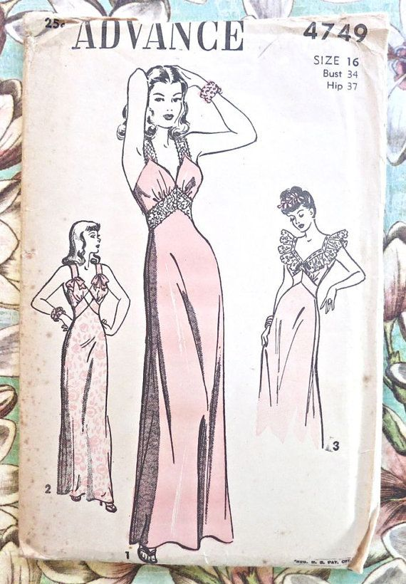 Advance 4749 - Vintage 1940s Womens Nightgown Pattern | patrones de ...