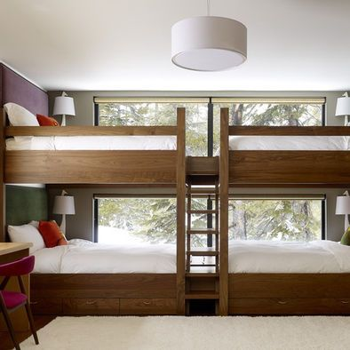 Large Bunk Bed Design With Four Beds For Kids Bedrooms.great Space Saving  Idea, But I Wouldnu0027t Want To Be Making Them.they Look Like Double Beds